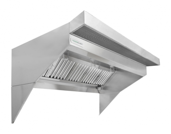 """Low Ceiling Sloped Front Restaurant Hood w/ PSP Makeup-Air 12'x48"""""""