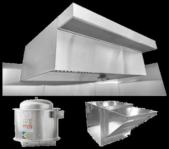 "HoodMart Restaurant Hood System w/ PSP Makeup-Air 4'x48""  + Fire Suppression System"