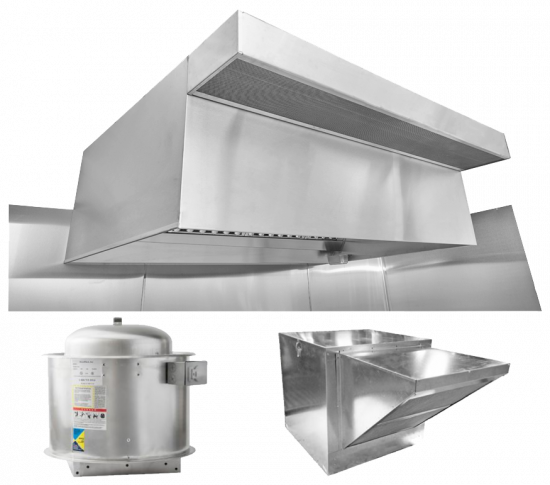 "HoodMart Restaurant Hood System w/ PSP Makeup-Air 8'x48"" + Fire Suppression System"