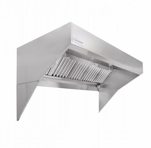 """Low Ceiling Sloped Front Wall Canopy Hood w/Makeup Air 13'x48"""""""
