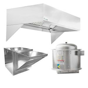 "HoodMart Restaurant Hood System w/ Makeup-Air 4'x48"" + Fire Suppression System"