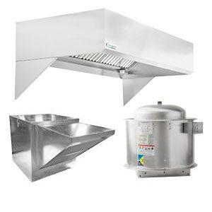"HoodMart Restaurant Hood System w/ Makeup-Air 10'x48"" + Fire Suppression System"