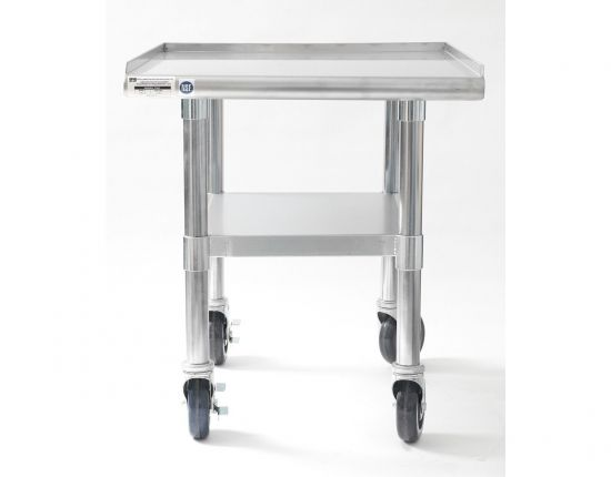 "NAKS 24"" x 27"" 16 Gauge Stainless Steel Equipment Stand with Undershelf and Casters"