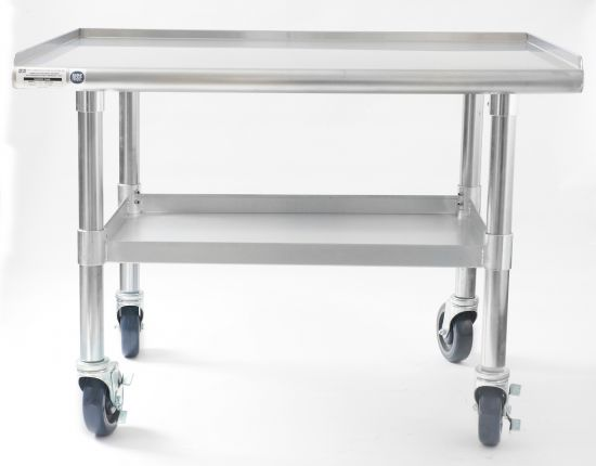 "NAKS 36"" x 27"" 16 Gauge Stainless Steel Equipment Stand with Undershelf and Casters"