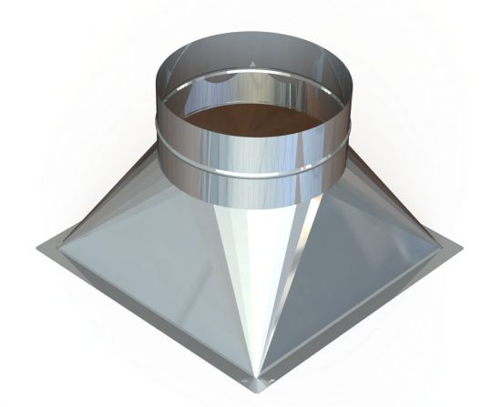 """22"""" Diameter Grease Duct Transition Square to Round"""